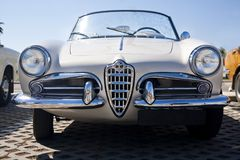 Classic seventies car. Close view of an Italian classic seventies car parked Stock Photo