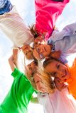 Close view of kids looking down at the camera royalty free stock photography