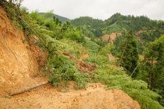 Close view of landslide in china Stock Image