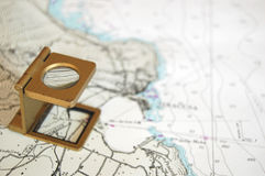 A close view through a lens !. A close look of a map using a magnifier lens Royalty Free Stock Photo