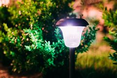 Close View Of Limelighted Energy-Saving Solar Powered Lantern Glowing Royalty Free Stock Images