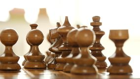 Close View Man Hand Playing and Moving Strategic a Piece on The Chess Table.  stock video