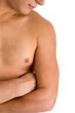 Close view of man looking at his muscular arm Stock Image