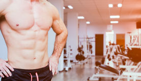 Close view of man's abs, chest and biceps at a gym Royalty Free Stock Images