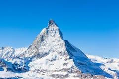 Close view of Matterhorn on a clear sunny day. On the winter hiking path, Zermatt, Switzerland royalty free stock photo