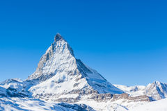 Close view of Matterhorn on a clear sunny day. On the winter hiking path, Zermatt, Switzerland royalty free stock images