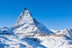 Close view of Matterhorn. In winter on the hiking path, Zermatt, Switzerland Royalty Free Stock Photo