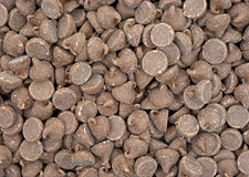 Close view milk chocolate chips Stock Images