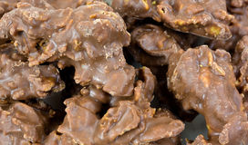 Close view of milk chocolate cornflake clusters Royalty Free Stock Image