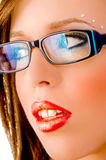 Close view of model with eyewear Stock Images