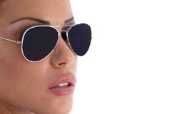 Close view of model wearing sunglasses Stock Image