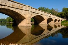 Close View of the Monocacy Aqueduct. Historic Chesapeake and Ohio Canal Aqueduct in Maryland, USA Royalty Free Stock Photo