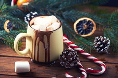 Close view at mug with hot chocolate wooden table Royalty Free Stock Images