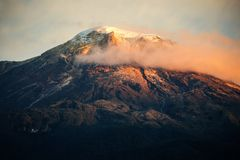 A close view of the Nevado del Tolima. One of the few snow picks in Colombia royalty free stock photo
