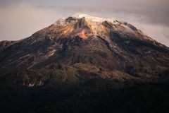 A close view of the Nevado del Tolima. One of the few snow picks in Colombia stock photos