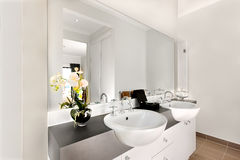 Close View Of A Modern Bathroom Included A Big Mirror And White Stock Image