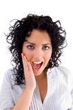 Close View Of Surprised Beautiful Female Royalty Free Stock Image