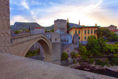 Close view of the Old Bridge in Mostar, Bosnia and Herzegovina Stock Photos