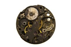 Clockwork old mechanical. close up, macro shot. Vintage gears vi. Close view of old clock mechanism with gears and cogs. Clockwork old mechanical. close up Stock Photo