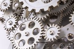 Close view of old clock mechanism with gears and cogs. Conceptual photo for your successful business design. Copy space included royalty free stock images