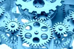 Close view of old clock mechanism with gears and cogs. Conceptual photo for your successful business design. Copy space included stock photo