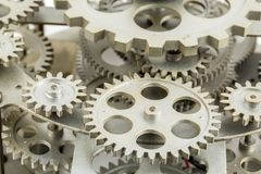 Close view of old clock mechanism with gears and cogs. Conceptual photo for your successful business design. Copy space included royalty free stock image