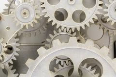 Close view of old clock mechanism with gears and cogs. Conceptual photo for your successful business design. Copy space included royalty free stock photos