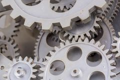 Close view of old clock mechanism with gears and cogs. Conceptual photo for your successful business design. Copy space included stock photography