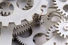 Close view of old clock mechanism with gears and cogs. Conceptual photo for your successful business design. Copy space included royalty free stock photo