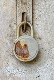 Close View of Old Rusty Padlock. On Metal Gate Stock Photo