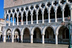 Close view of Palazzo Ducale at Piazza San Marco in Venice, Italy. The palace was the residence of the Doge of Venice royalty free stock photography