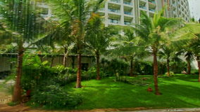 Close View Palm Park near Large Hotel under Bright Sunlight. Closeup panorama of palm park with green lawn nearby large hotel building under bright sunlight stock footage