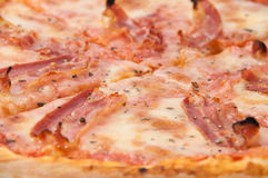 Close view of pizza with bacon Royalty Free Stock Image