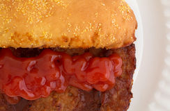 Close view of a pork rib sandwich with ketchup Royalty Free Stock Image