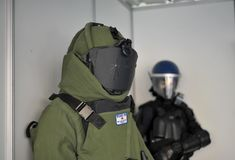 Police bomb squad equipement protection. Close view on portuguese police bomb and explosives material equipement Royalty Free Stock Photography