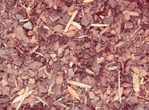 Close view on bark mulch, nature background in retro look Royalty Free Stock Images