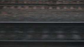 Close View Of Railroad Track Moving At High Speed. Camera moves along railway.  stock video footage