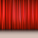 Close view of a red curtain. Vector illustration background for your presentation Stock Images