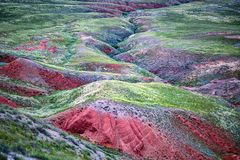 Close view of red soil and green grass of mountain Big Bogdo. Russia. Beautiful view of Big Bogdo Mount in Astrakhan region, Russia stock photography