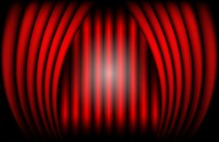 Close view of a red velvet curtain. Theater background Vector illustration.  Stock Images