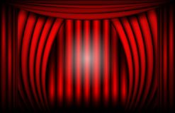 Close view of a red velvet curtain. Theater background Vector illustration.  Royalty Free Stock Image