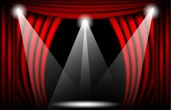 Close view of a red velvet curtain. Theater background Vector illustration, Teathre stage with spotlights. And light bulb Stock Images