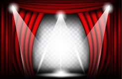 Close view of a red velvet curtain. Theater background Vector illustration, Teathre stage with spotlights. Close view of a red velvet curtain. Theater background royalty free stock photo