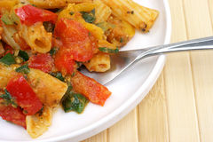 Close view of a rigatoni meal Stock Photography