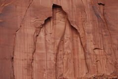 Close View Rock Face Monument Valley. Close is a relative term in Monument Valley when taking a photo from a hundred yards away. Geologic details and a natural Stock Image