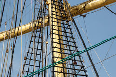 Close view of a sailers mast and rigging royalty free stock image