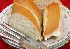 Close view of sandwiches on plates Royalty Free Stock Photos