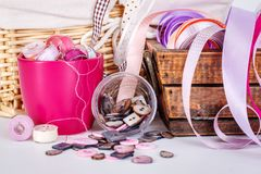 Close view of sewing accessories Royalty Free Stock Image