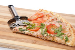 CLOSE VIEW SLICE VEGAN PIZZA KNIFE TOMATO Stock Image