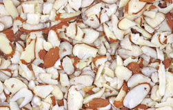 Close view of sliced almonds Royalty Free Stock Images